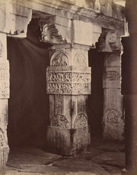Close view of a column showing sculptural detail, Virupaksha Temple, Pattadakal